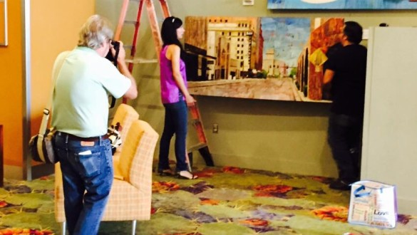 Installation of Aileen Frick's Iconic Highrises Mural at Phx Conv Center 1-19-2015